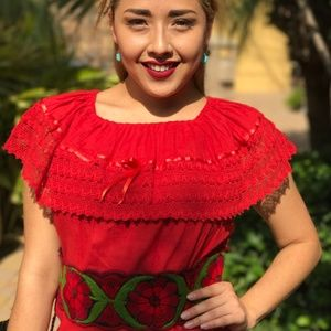 Mexican Campesina Top Red with Lace and Ribbons